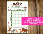 INSTANT DOWNLOAD Woodland Creatures Shower Squares: Forest Animals Co-Ed Baby Shower Game Printable - Print-at-Home PDF Printable