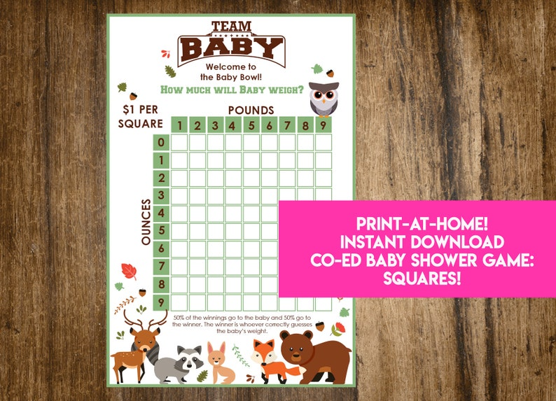 INSTANT DOWNLOAD Woodland Creatures Shower Squares: Forest image 0