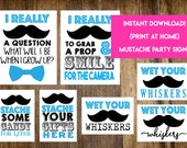 INSTANT DOWNLOAD Mustache Party Signs: Photo Prop Guestbook Little Man Baby Shower Party Signs - Print-at-Home PDF Printable
