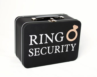 Matte Black Ring Security Box - Complete with Coloring Book with Crayons - Ring Bearer Alternative