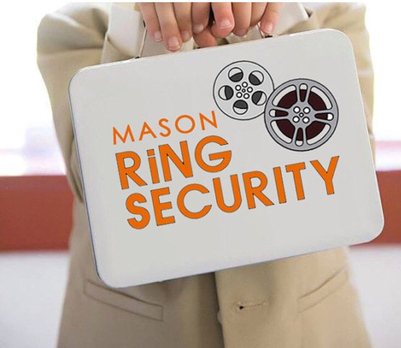Movie Themed White Ring Security Box  Complete with Coloring image 0