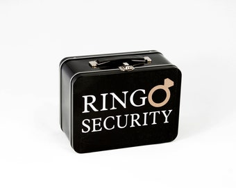 Black Ring Security Box with Ring Pillow - Complete with Coloring Book with Crayons - Ring Bearer Alternative