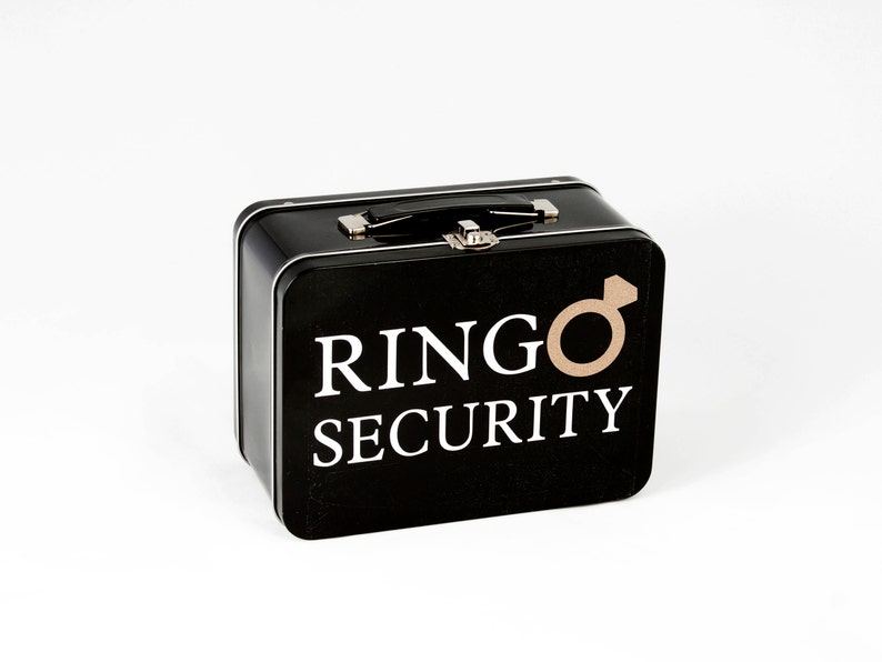 Black Ring Security Box with Ring Pillow  Complete with image 0