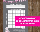 INSTANT DOWNLOAD It's A Girl Elephant Shower Squares: Co-Ed Baby Shower Game Printable - Print-at-Home PDF Printable