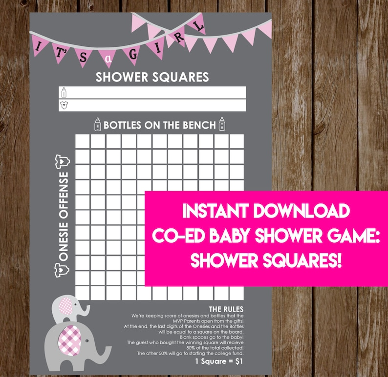INSTANT DOWNLOAD It's A Girl Elephant Shower Squares: image 0