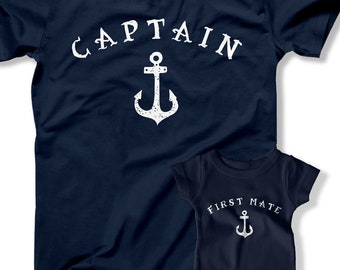 fc1f4271 T Shirt Dad and Baby Matching, Captain First Mate Shirt, Father Son Matching,  First Fathers Day Sailing Gift, Captain Shirts, Nautical Gift