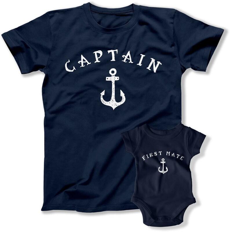 T Shirt papà e bambino di corrispondenza capitano primo Mate  f16a41427001
