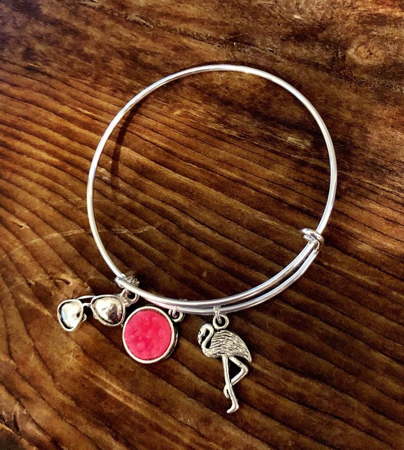Pink Flamingo Summer Charm Bangle Bracelet