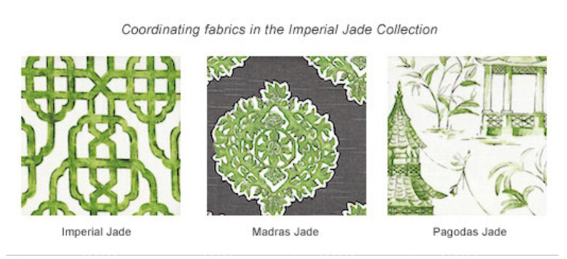 Bradford Valance Pagodas Jade Green /& Gray Oriental Toile