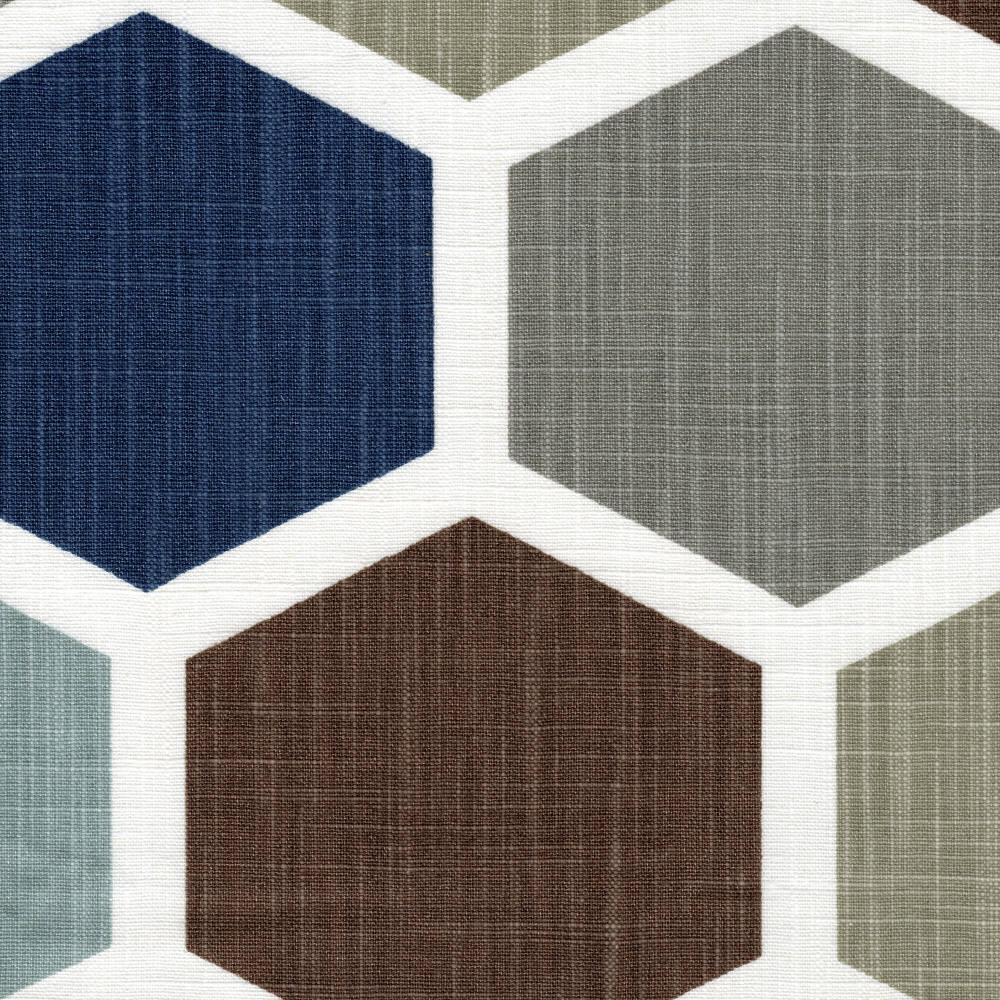 Tab Top Curtain Panels Hexagon Regal Blue Etsy