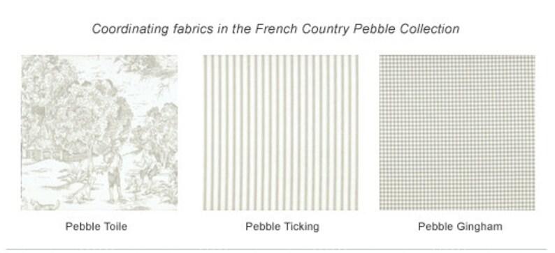Scallop Valance Pebble Taupe Ticking Stripe