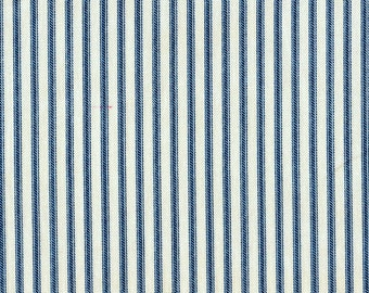 Scallop Valance Nautical Blue Ticking Stripe
