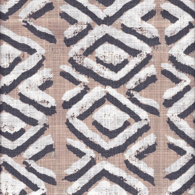 Tie-Up Valance Sapo Spice Geometric Rosy Tan Slub Cotton