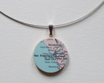 San Francisco California Recycled Map Reversible Handmade Pendant Necklace