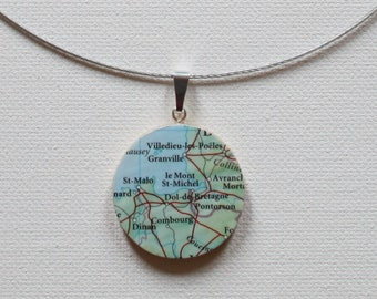 Le Mont St-Michel France Recycled Map Reversible Handmade Pendant Necklace