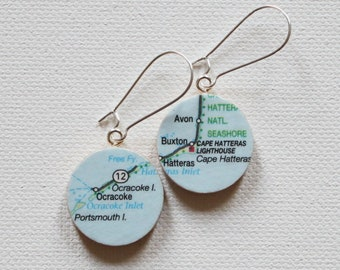 Outer Banks North Carolina Map Handmade Recycled Paper Earrings