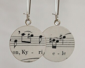 "Bach B-minor Mass ""Kyrie"" Soprano Handmade Recycled Paper Earrings"