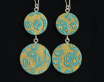 Double-Circle Reversible Gold Turquoise Handmade Paper Wood Earrings