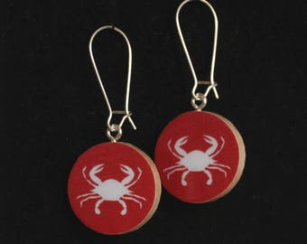 Maryland Crabs Red/Yellow Handmade Reversible Paper Earrings