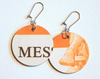 Handel's Messiah Score Cover Recycled Paper Handmade Earrings Pair #4