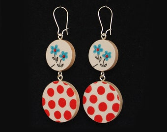 Double-Circle Reversible Handmade Vintage 1960s Wrapping Paper Wood Earrings