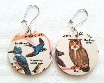 Owls Hummingbirds Vintage Reversible Recycled Paper Handmade Earrings