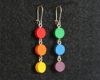 Mini Mod Mobiles Rainbow Pride Flag Triple-Circle Game Piece Earrings