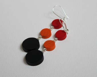 Mini Mod Mobiles Red Orange Black Triple-Circle Game Piece Earrings