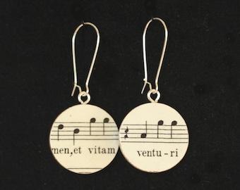 "Bach B-minor Mass ""Et vitam venturi"" Handmade Recycled Paper Earrings"