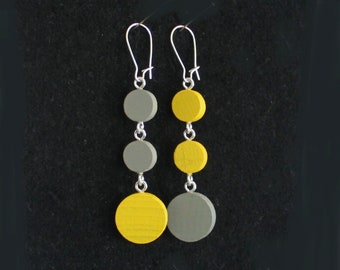 Mini Mod Mobiles Yellow Gray Triple-Circle Game Piece Earrings