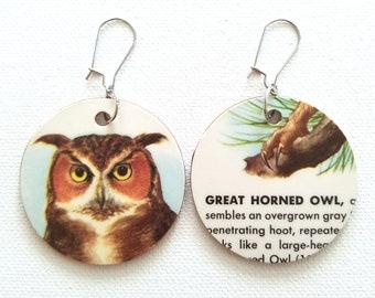 Great Horned Owl Vintage Reversible Recycled Paper Handmade Earrings