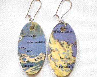 Moon Map Vintage Atlas Recycled Paper Handmade Earrings