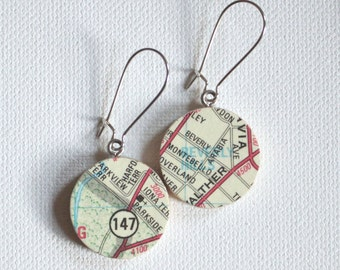 Beverly Hills Arcadia Baltimore Map Handmade Recycled Paper Earrings