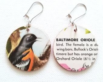 Baltimore Oriole Bird Vintage Reversible Recycled Paper Handmade Earrings