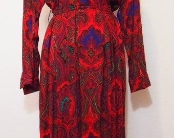 1980s California Paisley Dress