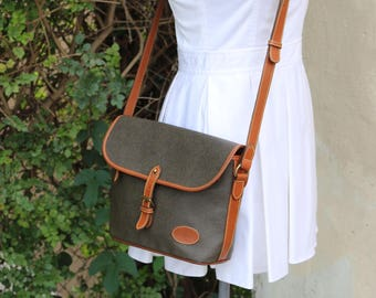 390d649f86 80 s Mulberry Green Pebbled Canvas Scotch Grain with Leather Strap and  Piping Crossbody Purse