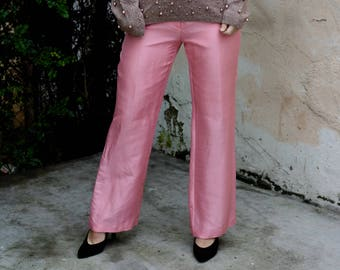 XS 90's Pink Raw Silk Wide Legged Pants Size Extra-Small