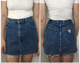 35040651a5f9c Vintage 80's GUESS High-Waisted Jean Skirt with frayed hemline XXS