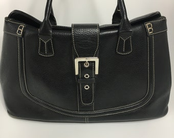 60e667a604 Vintage 90's TOD'S Black Pebble Leather Purse with Silver Buckle