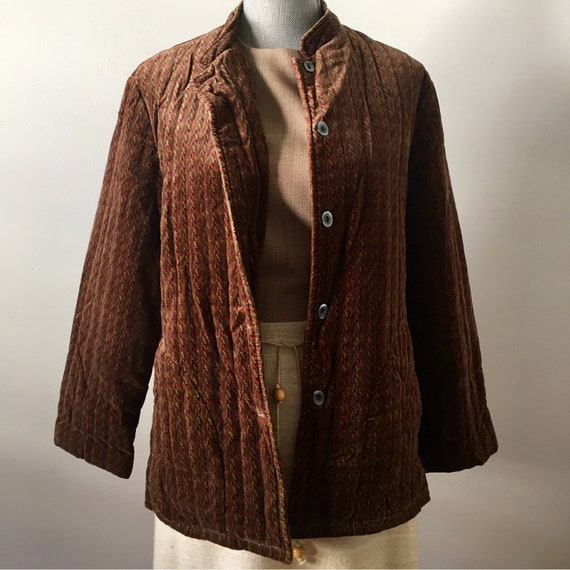 70's Campus Casuals Quilted Velvet Coat Size Small