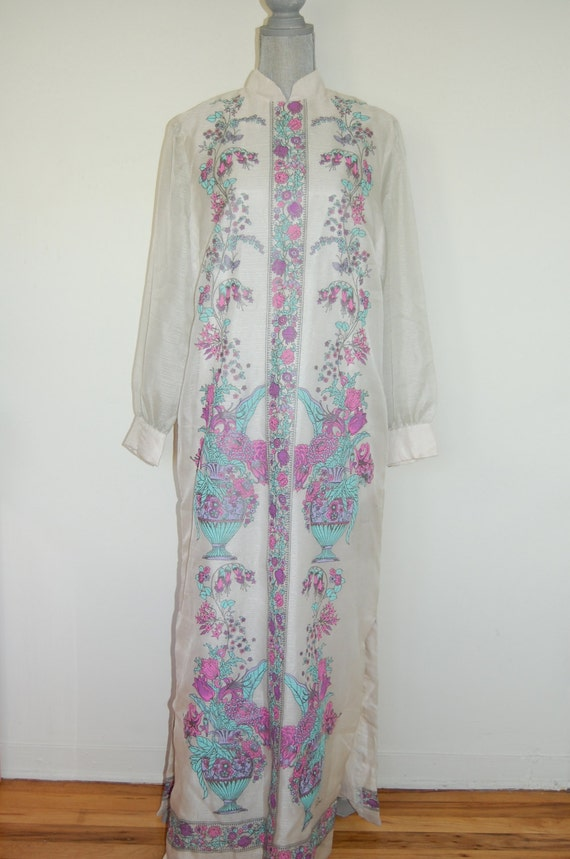 M-L 60's Alfred Shaheen Floral Cocktail Dress Size