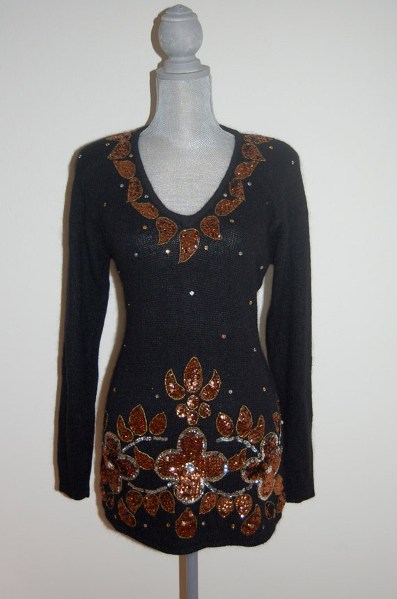 SALE S 80/'s Soft Black Silk Blend Sweater Embellished with Copper and Silver Sequins Floral Leaf Neckline Size Small