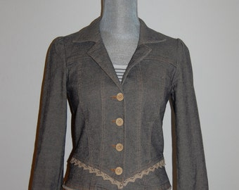 S 90's Nanette Lepore Stretch Jean Jacket with Crochet Lace Detail Victorian Style Size Small