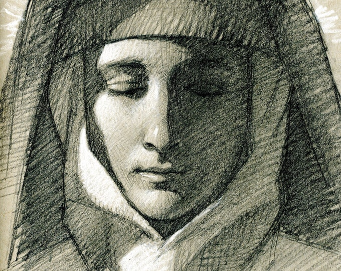 Study of St. Margaret Mary Alacoque (original drawing)