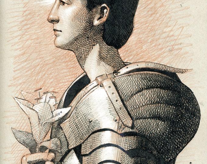 Study of St. Joan of Arc (original drawing)