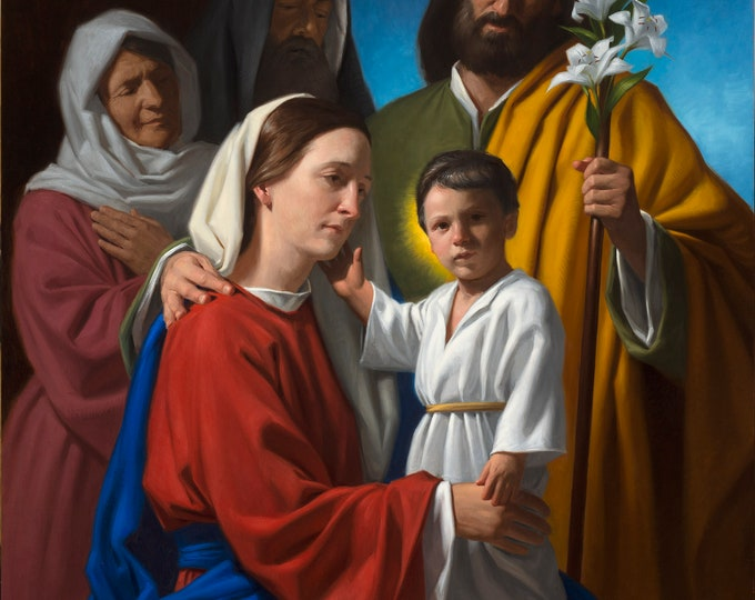 """The Holy Family with Sts. Anne & Joachim (Giclee Print) - 8x10"""""""