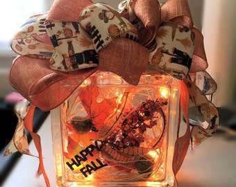 SALE!!! Autumn Lighted Glass Block - Display and/or Night Lite
