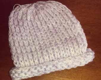 Knitted Two Year Old Kid's Hat - White and Lilac
