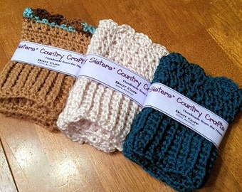 Crochet Boot Toppers, Women's Boot Cuffs - Size Small
