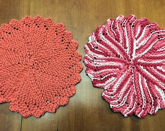 Knitted Round Dishcloths - Multiple Colors